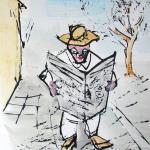 689 homme lisant son journal